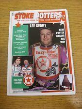 20/10/2012 Speedway Programme: Stoke Potters v Mildenhall Fen Tigers [National T