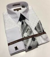 Men's HENRI PICARD French Cuff Dress Shirt WHITE Tie Hanky Cufflinks Set FC158