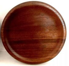 "Walnut Wood Plate (1) Vtg Mid Century Round 8.25"" x 1"" USA Foil Label"