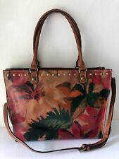 $249 Patricia Nash Zancona Spring Multi Leather Floral Handbag Green Red Tote NE