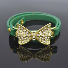 Triple GREEN Leather Double Poppers Strap Bracelet With Center Crystal Bow