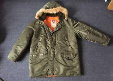 Antler Flight Jacket Parka  Fur Snorkel Hood Down Navy Blue Small Coat USAF