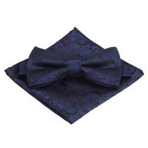 Men Paisley Floral Pre-tied Bow Tie Pocket Square Wedding Party Handkerchief Set