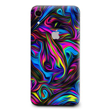 Skins Decal Wrap for Apple iPhone XR - Neon Color Swirl Glass