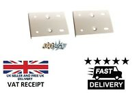 WHITE KITCHEN CUPBOARD DOOR HINGE REPAIR KIT INCLUDES 2 PLATES AND FIXING SCREWS