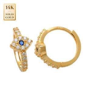14K Real Solid Gold CZ Evil Eye Hoop Earring Hinged Huggie Hoop clicker Jewelry