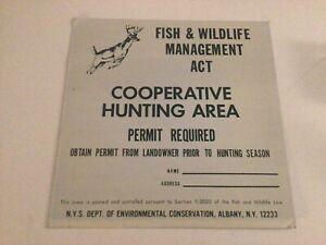 Very Nice Vintage NYS Enviromental Conservation Fish & Wildlife Metal Sign