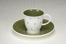 """Vintage 1950's Susie Cooper """"Quail"""" shape Cup and Saucer - Raised Spot - Dk Grn"""