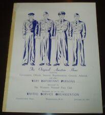 1951, ORIGINAL AMATEUR HOUR, USO PROGRAM, WOMEN'S NATIONAL PRESS CLUB