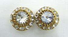 18k Gold Plated Round Botton Swarovski Element Austrian Crystal Clip On Earrings