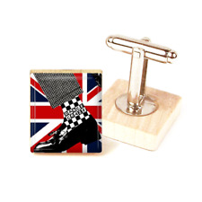 SKA CuffLinks Two tone Union Jack MOD cufflinks UK handmade gift dance craze