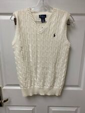 Polo RALPH LAUREN BOYS Ivory CABLE KNIT SWEATER VEST SIZE 14-16 NEW WITH TAGS