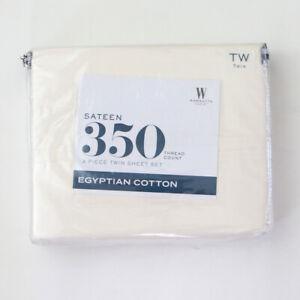 Wamsutta Sateen 350 Count Egyptian Cotton Twin Sheet Set Ivory