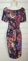 M&S COLLECTION Floral Stretch Wiggle Bodycon Pencil Dress 12 Wedding Occasion