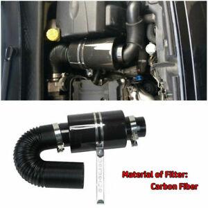 "Universal 3"" Filter Box Carbon Fiber Car Induction Cold Air Intake System Hose"