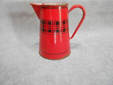 FRENCH Antique Enamelware RED  PITCHER w/ black pattern