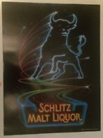 "Vintage 1983 Schlitz Malt Liquor Bull Beer Poster 24"" X 18"" Neon Stroh Man cave"