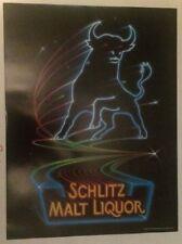 Vintage 1983 Schlitz Malt Liquor Bull Beer Poster Huge 24� X 18� Neon Stroh