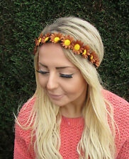 Brown daisy chain flower garland bandeau cheveux bande couronne festival boho 2003