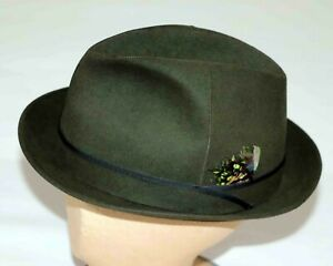 Stetson Saxon Hat 3X Beaver Quality Felt Fedora 1/8 Vintage Size 57cm GENUINE
