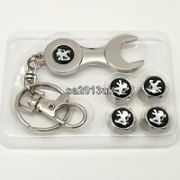 Peugeot Metal Wrench Keyring + a set of 4x Tyre Valve Dust Caps Gift For Him Her