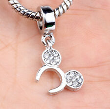 European Silver CZ Charm Beads Fit sterling 925 Necklace Bracelet Chain A#624