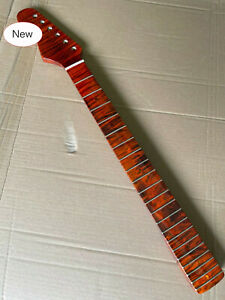 Tiger Flame Maple Guitar Neck 21 Fret 25.5inch Dark Yellow Pearl Dot Inlay Left