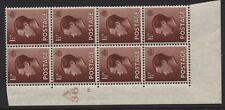 1936 1½d Red Brown Keviii U/Mintcontrol (A36 16 Dot) Block Of Eight. Sg 459