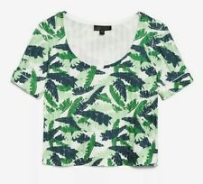 Topshop Tropical Print Knitted Crop Top Size 12 New with Tags £16.00 T-Shirt