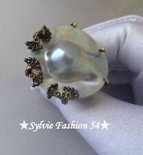 😍😍 Exceptionnelle Imposante bague argent 925 or Perle naturelle Rhodolite T 57