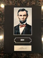 Abraham Lincoln Display w/  Hand-Written Word from Letter PSA LOA 8x10