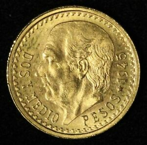 1945 Mexico Gold 2 1/2 Pesos - Free Shipping USA