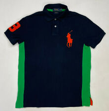 Polo Ralph Lauren Rugby Polo Shirt Men Adult Medium Blue Green Big Pony 3 Orange
