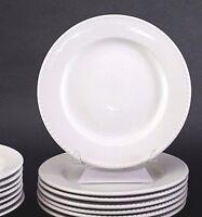 "(4) Pier 1 BLANCA White Blanca Ironstone Dinner Plates 10 1/2"""
