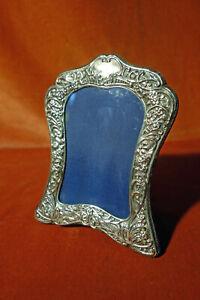 Decorativer Silberrahmen, Sheffield, 925er Sterlingsilber mit blauem Samt