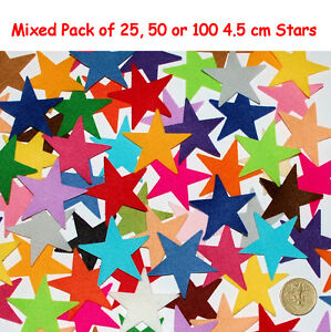 Felt Stars Small Multi Colour Pink Blue Red Yellow Green Embellishment 4cm Mixed