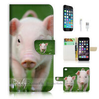 ( For iPhone 6 6S ) Wallet Case Cover  P1784 Cute Pig