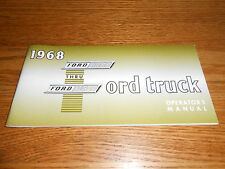 1968 FORD F-100 F-250 F-350 TRUCK OWNER OPERATOR'S MANUAL 68 PICKUP, PANEL Etc.
