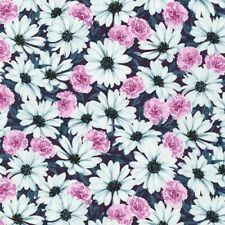 Daisy Made Floral Fabric 100% Quilters Cotton Flowers Pink White