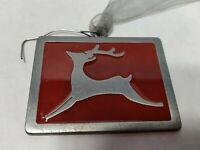 "Dark Red / Burgundy Enamel 2001 Gloria Duchin Reindeer Christmas Ornament 2 1/4"""