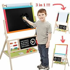 Educational Kids Wooden 3 in 1 Fun Drawing Writing Blackboard + Whiteboard Easel