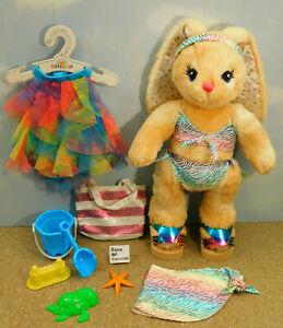 Build a Bear Summer Beach Bundle 32 - Rainbow Zebra Bikini, Dress BEAR NOT INC