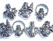 7 - 2 HOLE SLIDER BEADS ADORABLE SNOWMAN WINTER HOLIDAY ANTIQUED SILVER PLATED