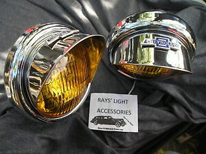 NEW SMALL PAIR 12 VOLT VINTAGE STYLE AMBER COLOR FOG LIGHTS WITH B/T VISORS !