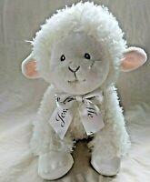 "Aurora Baby Musical Wind Up White Sheep Lamb Plush Animal Jesus Loves Me Bow 11"""