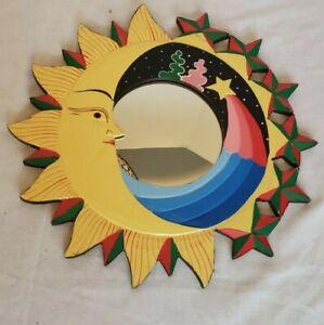 "Wooden Mirror Hand Painted Sun and Stars 15.5"" diameter"