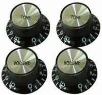 Guitar Tech GT505 Black SG-Type Control Knobs Set of 4, 2-Vol & 2x Tone