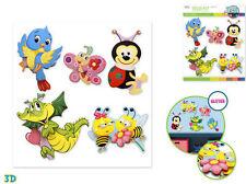 FLYING FRIENDS wall stickers 5pc w/glitter 3D nursery ladybug bird dragon bee +