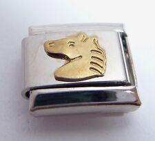 GOLD HORSE HEAD Italian Charm - Pony Riding Knight E4 9mm fits Classic Bracelets