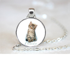 Princess~Kitty PENDANT NECKLACE Chain Glass Tibet Silver Jewellery